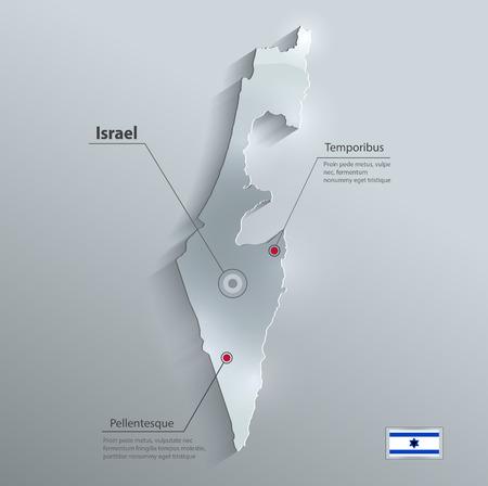 israelite: Israel map flag glass card paper 3D vector