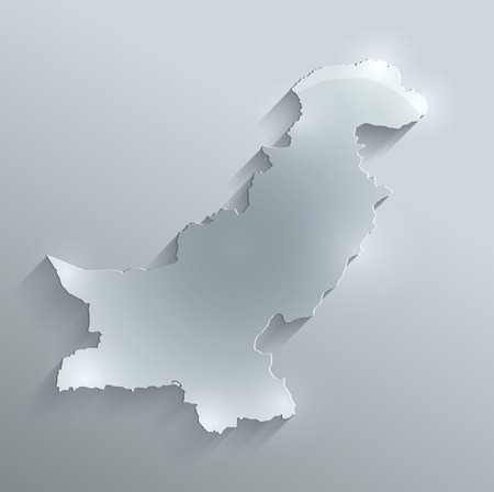 papery: Pakistan map glass card paper 3D raster Stock Photo