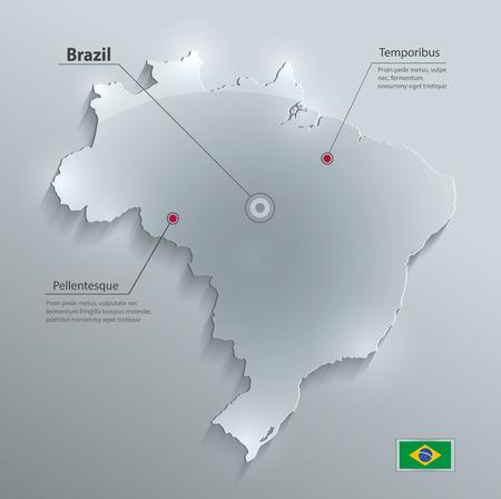 Brazil map flag glass card paper 3D water vector Vector