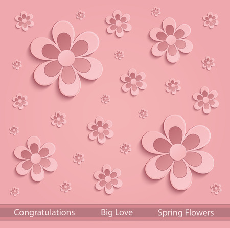 valentine s day background: Flowers love Spring paper 3D pink