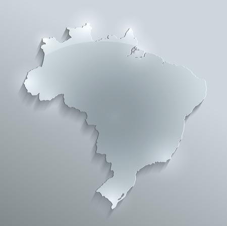 Brazil map glass card paper 3D water raster photo