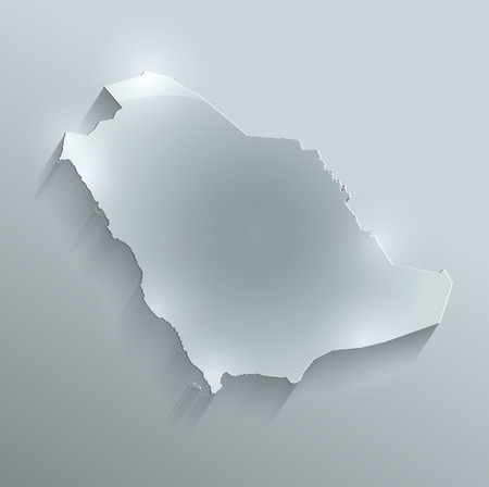 saudi: Saudi Arabia map glass card paper 3D raster  Stock Photo