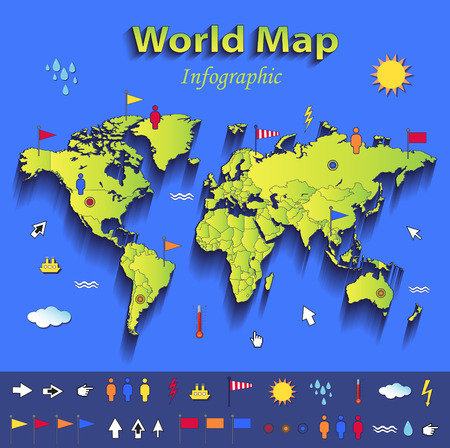 outline blue: World map infographic political map individual states blue green card paper 3D