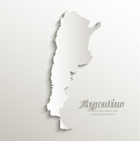 continente americano: Argentina mapa tarjeta de papel 3D naturales