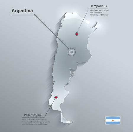 Argentina map flag glass card paper 3D  Vector