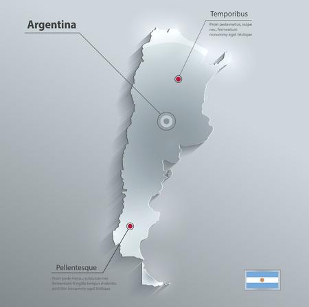 argentina map: Argentina map flag glass card paper 3D