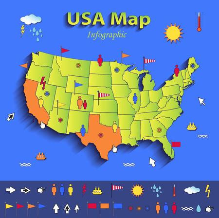 USA kaart infographic politieke kaart individuele staten blauw groene kaart papier 3D
