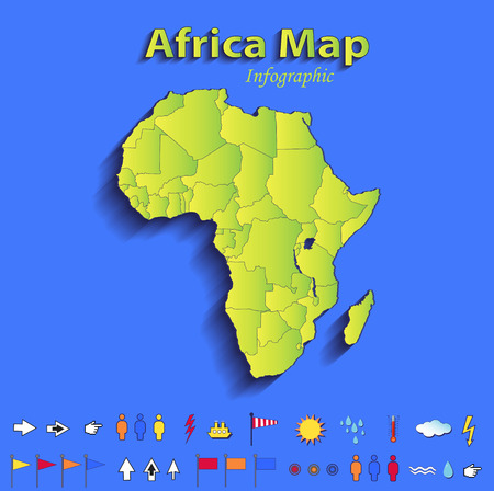 Africa map infographic political map individual states blue green card paper 3D raster photo