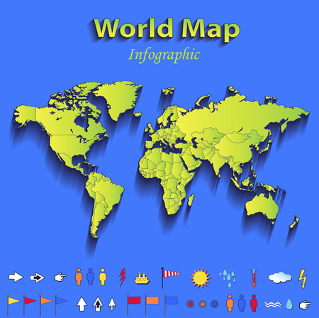papery: World map infographic political map individual states blue green card paper 3D raster