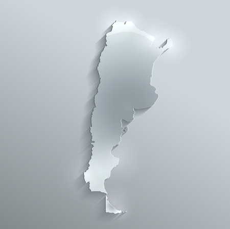 Argentina map glass card paper 3D raster  photo
