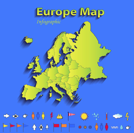Europe map infographic political map individual states blue green card paper 3D raster photo