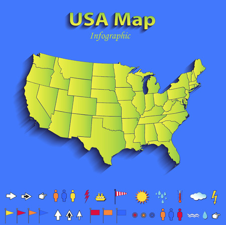 USA map infographic political map individual states blue green card paper 3D raster photo