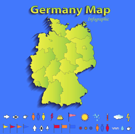 Germany map infographic political map individual states blue green card paper 3D raster photo