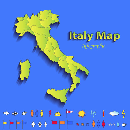 Italy map infographic political map individual states blue green card paper 3D raster photo