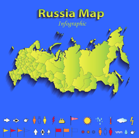 Russia map infographic political map individual states blue green card paper 3D raster photo