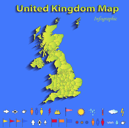 United Kingdom Great Britain England map infographic political map blue green card paper 3D vector individual states raster photo