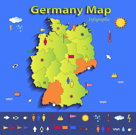 Germany map infographic political map individual states blue green card paper 3D vector Vector