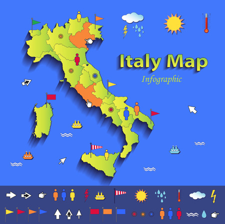 Italy map infographic political map individual states blue green card paper 3D vector Vector
