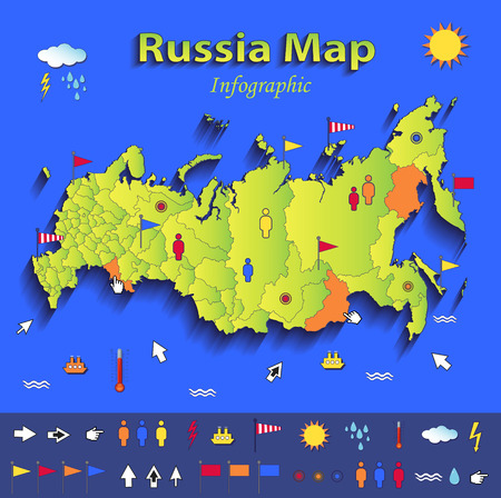 Russia map infographic political map individual states blue green card paper 3D vector Vector