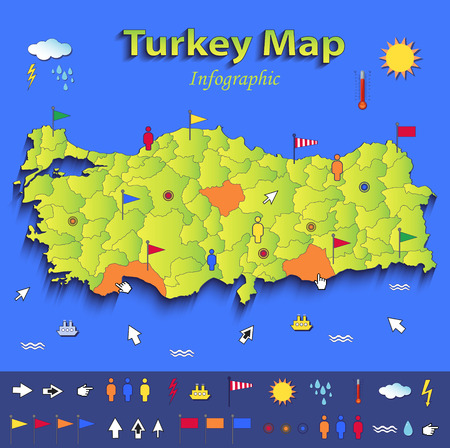 Turkey map infographic political map individual states blue green card paper 3D vector Vector