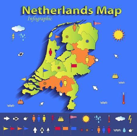 Netherlands Holland map infographic political map blue green card paper 3D vector individual states  Vector