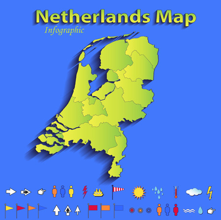 Netherlands Holland map infographic political map blue green card paper 3D raster individual states  photo