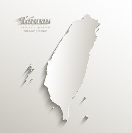 台湾地図カード紙 3 D 自然なベクトル