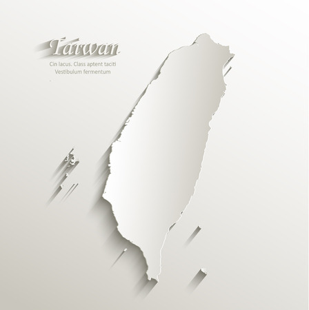 Taiwan map card paper 3D natural vector