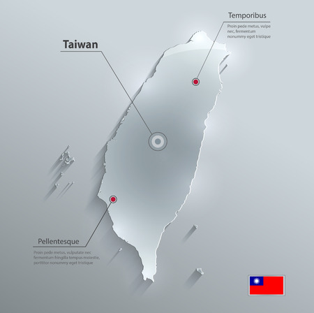 wan: Taiwan map flag glass card paper 3D vector Illustration