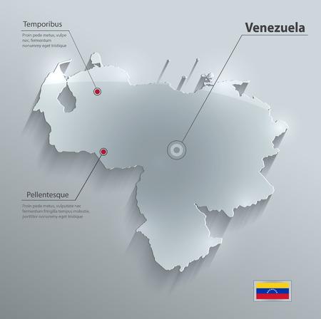 mapa de venezuela: Tarjeta del mapa de cristal Venezuela bandera vector de papel 3D