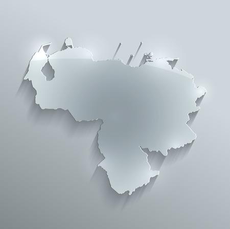 Venezuela map glass card paper 3D raster photo