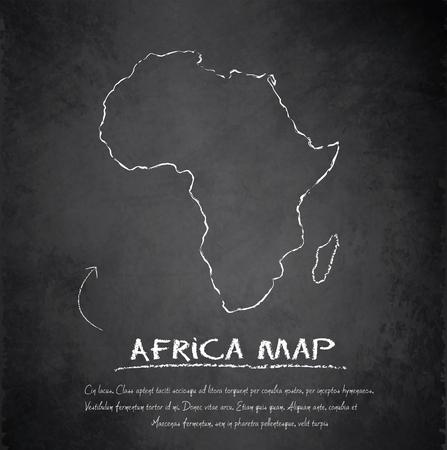 continente africano: Mapa de África pizarra pizarrón vector