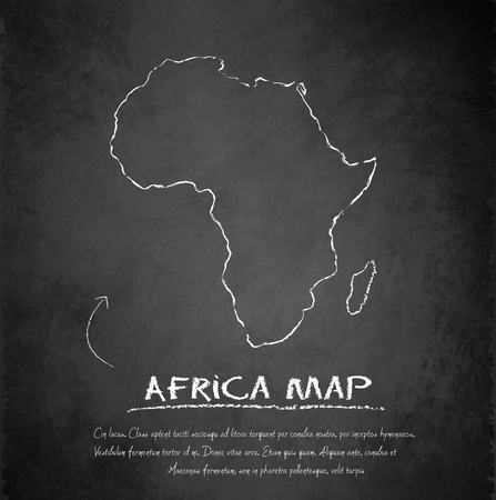 Africa map blackboard chalkboard vector  Illustration
