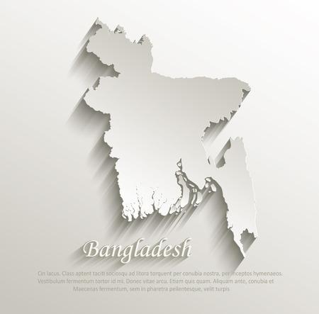 bangladesh 3d: Bangladesh map card paper 3D natural vector