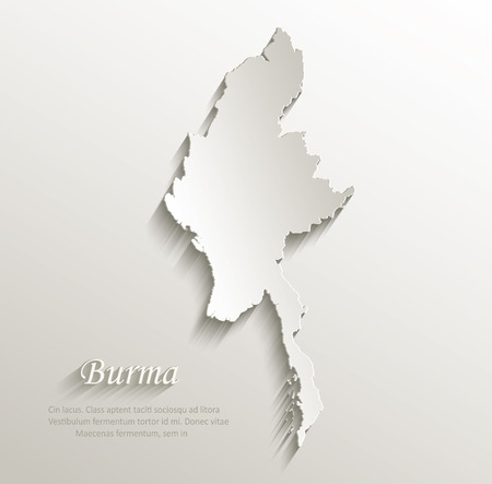 papery: Burma map card paper 3D natural vector  Illustration