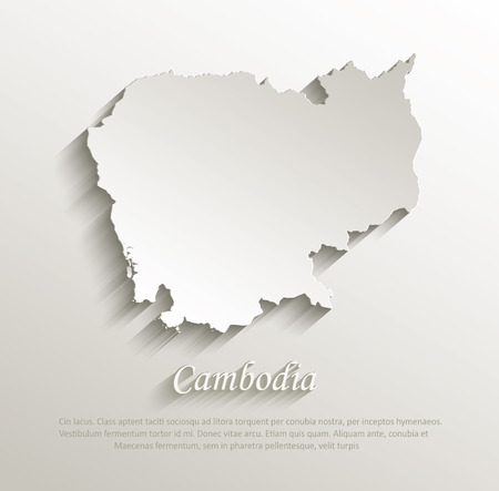 cambodia: Cambodia map card paper 3D natural vector  Illustration