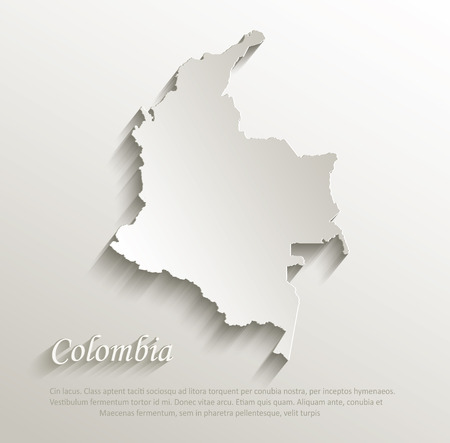 papery: Colombia map card paper 3D natural vector