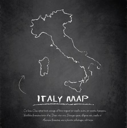 Italy map blackboard chalkboard vector