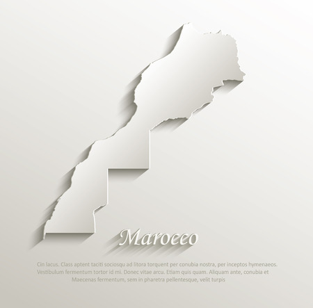 marocco: Marocco map card paper 3D natural vector