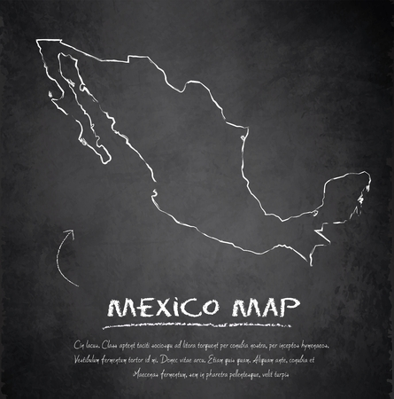 mexico map: Mexico map blackboard chalkboard vector  Illustration
