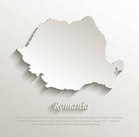 papery: Romania map card paper 3D natural vector  Illustration