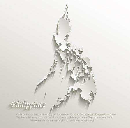 philippines  map: Philippines map card paper 3D natural vector