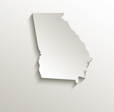 papery: Georgia map card paper 3D natural raster  Stock Photo
