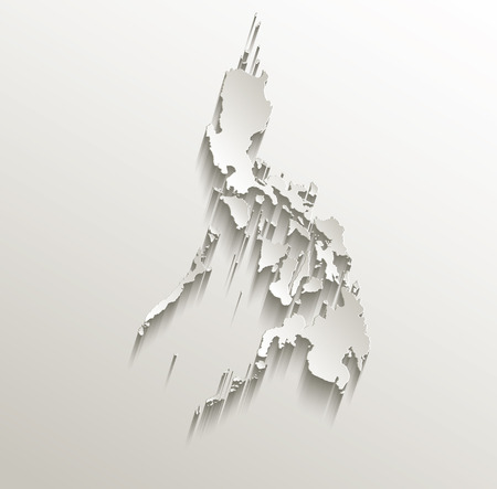Philippines map card paper 3D natural raster