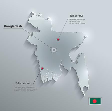 bangladesh 3d: Bangladesh map flag glass card paper 3D vector  Illustration