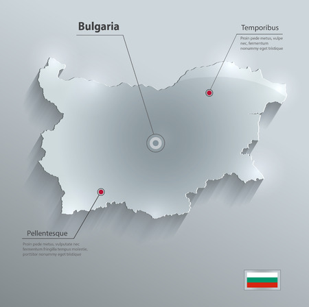 bulgaria: Bulgaria map flag glass card paper 3D vector
