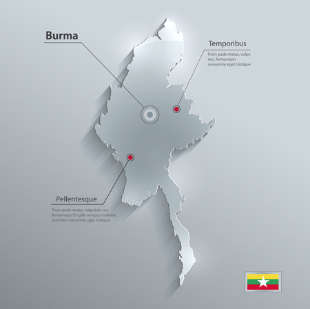 myanmar: Burma Myanmar map flag glass card paper 3D raster