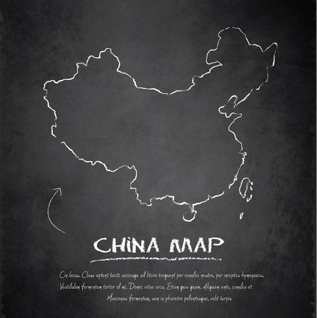 china map: China map blackboard chalkboard vector