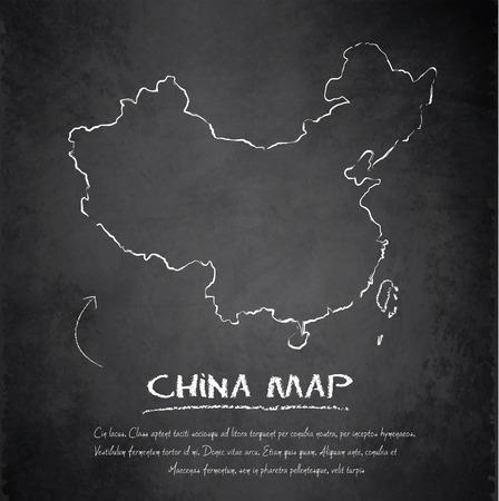 mapa china: China mapa de pizarra pizarra de vectores