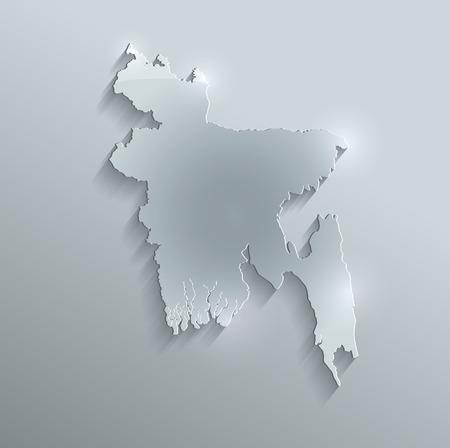 bangladesh 3d: Bangladesh map glass card paper 3D raster